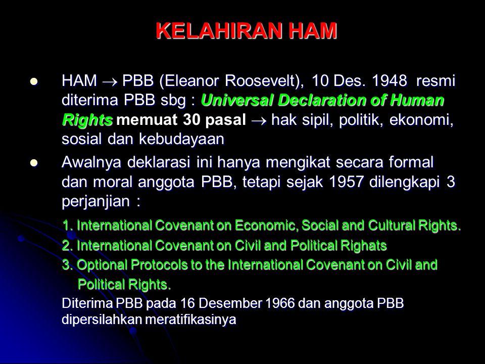 KELAHIRAN HAM HAM  PBB (Eleanor Roosevelt), 10 Des. 1948 resmi diterima PBB sbg : Universal Declaration of Human Rights  hak sipil, politik, ekonomi