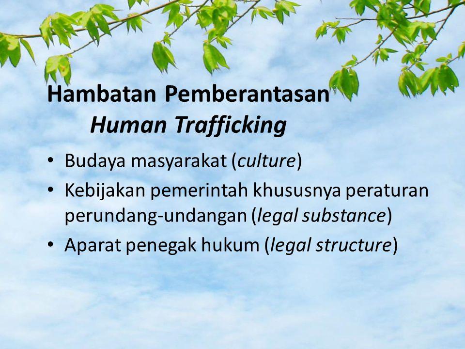 Hambatan Pemberantasan Human Trafficking Budaya masyarakat (culture) Kebijakan pemerintah khususnya peraturan perundang-undangan (legal substance) Aparat penegak hukum (legal structure)