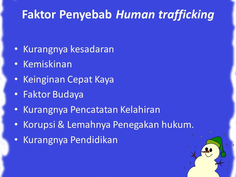 Faktor Penyebab Human trafficking Kurangnya kesadaran Kemiskinan Keinginan Cepat Kaya Faktor Budaya Kurangnya Pencatatan Kelahiran Korupsi & Lemahnya Penegakan hukum.