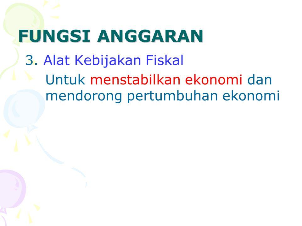 FUNGSI ANGGARAN 4.Alat Politik Untuk memutuskan prioritas dan kebutuhan keuangan terhdp prioritas.