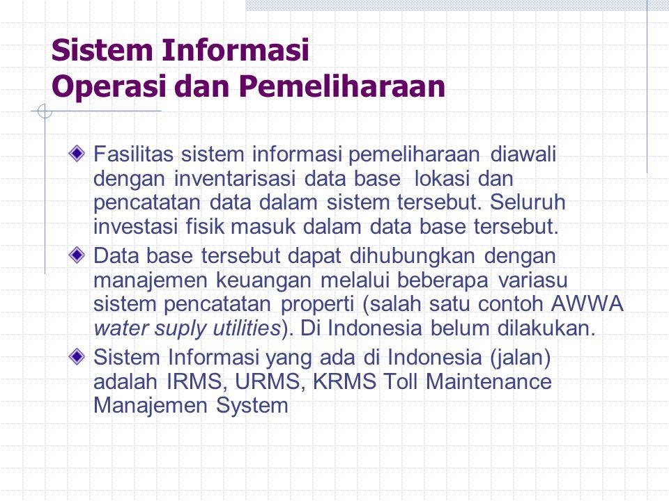 Sistem Informasi Operasi dan Pemeliharaan Fasilitas sistem informasi pemeliharaan diawali dengan inventarisasi data base lokasi dan pencatatan data da