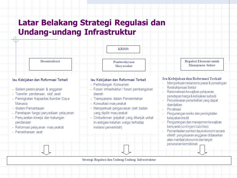 Latar Belakang Strategi Regulasi dan Undang-undang Infrastruktur Strategi Regulasi dan Undang-Undang Infrastruktur KRISIS Desentralisasi Pemberdayaan