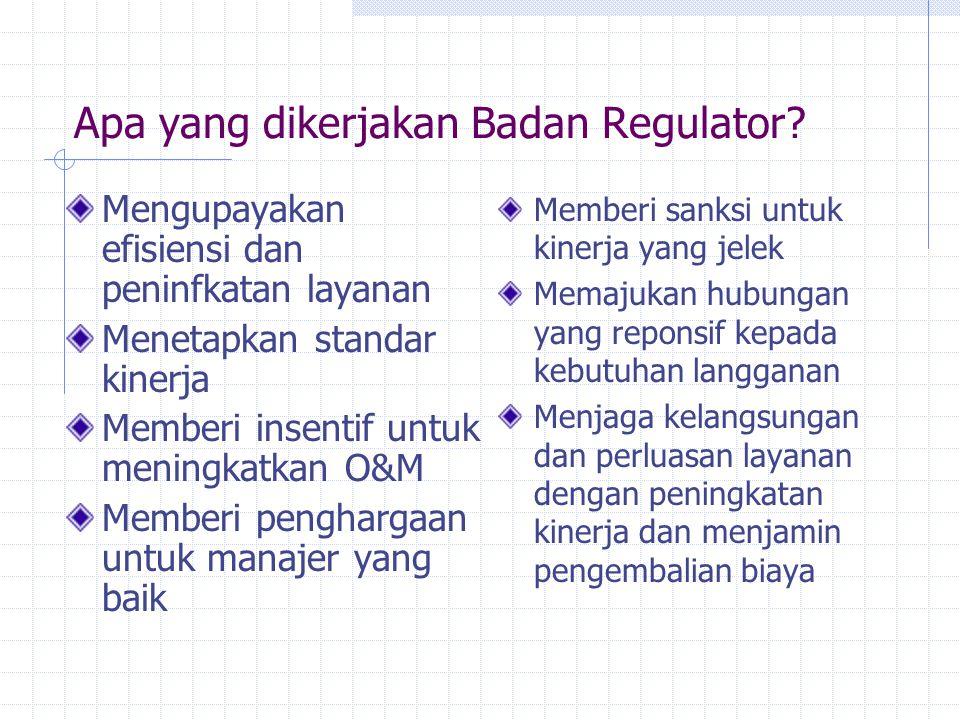 Apa yang dikerjakan Badan Regulator? Mengupayakan efisiensi dan peninfkatan layanan Menetapkan standar kinerja Memberi insentif untuk meningkatkan O&M