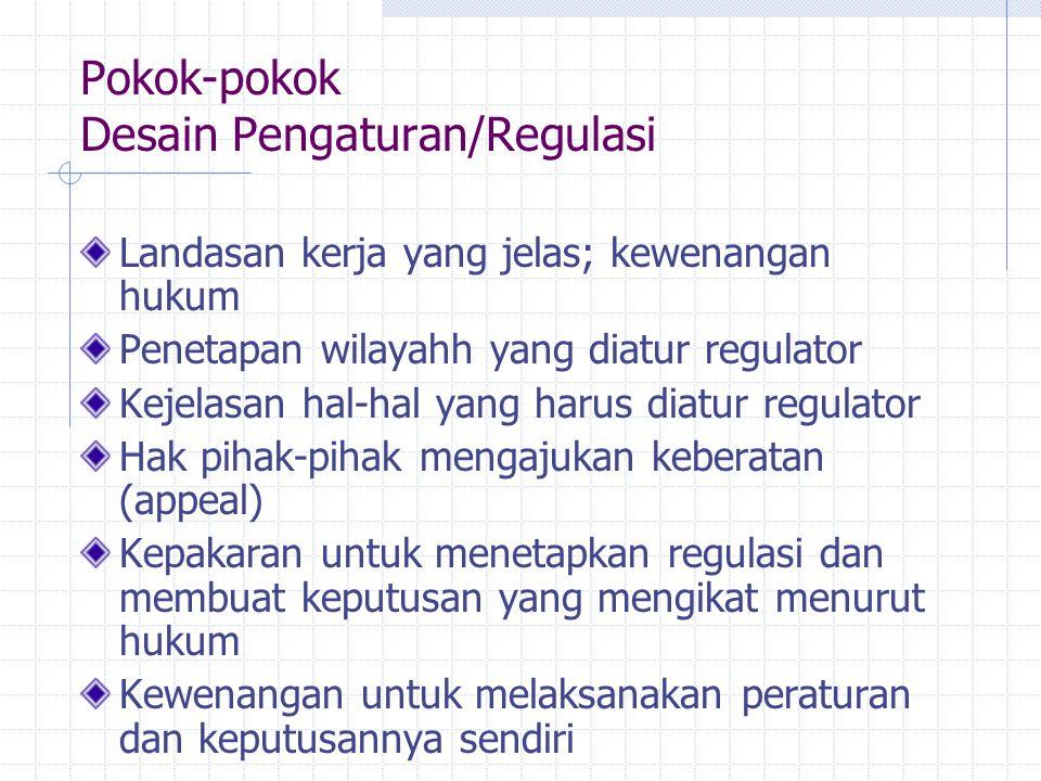Pokok-pokok Desain Pengaturan/Regulasi Landasan kerja yang jelas; kewenangan hukum Penetapan wilayahh yang diatur regulator Kejelasan hal-hal yang har