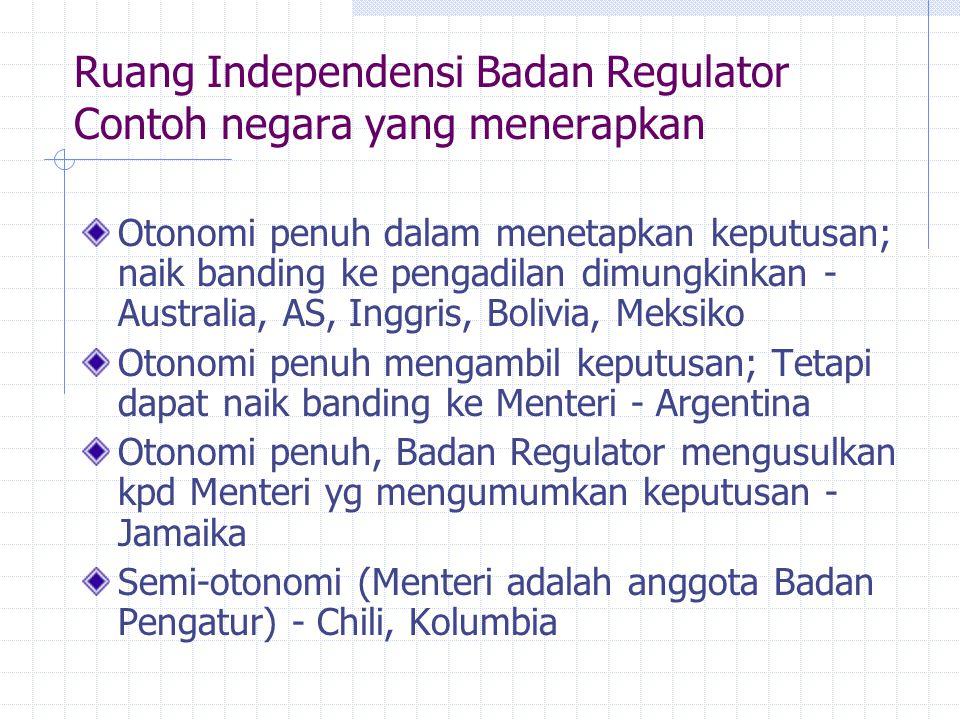 Ruang Independensi Badan Regulator Contoh negara yang menerapkan Otonomi penuh dalam menetapkan keputusan; naik banding ke pengadilan dimungkinkan - A