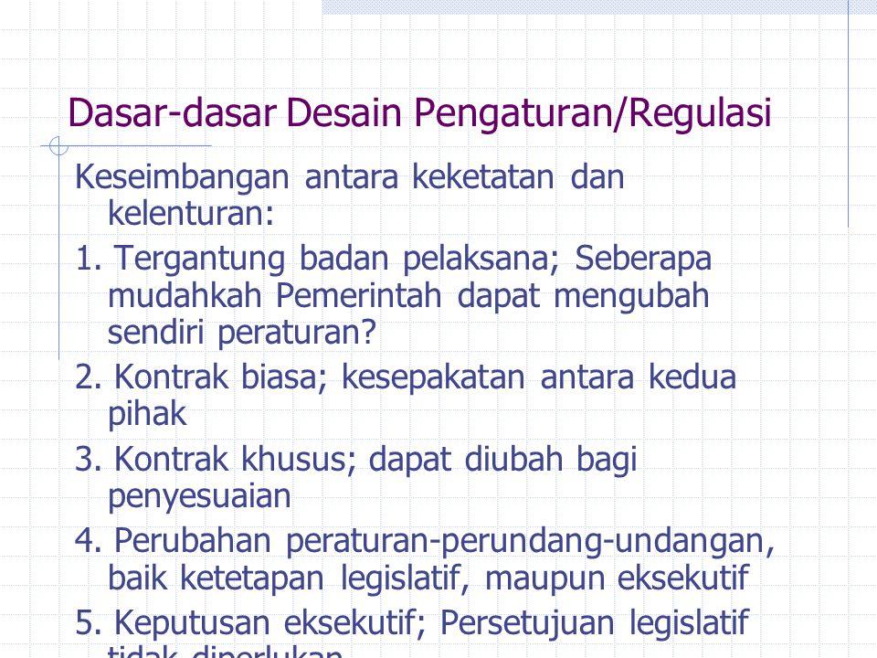 Dasar-dasar Desain Pengaturan/Regulasi Keseimbangan antara keketatan dan kelenturan: 1. Tergantung badan pelaksana; Seberapa mudahkah Pemerintah dapat