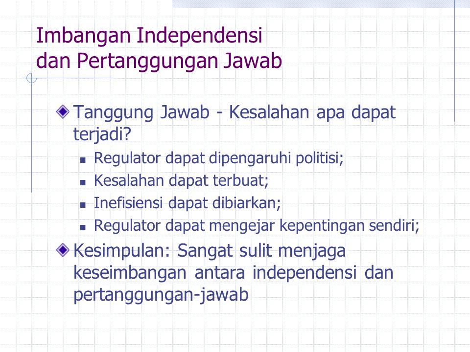 Imbangan Independensi dan Pertanggungan Jawab Tanggung Jawab - Kesalahan apa dapat terjadi? Regulator dapat dipengaruhi politisi; Kesalahan dapat terb