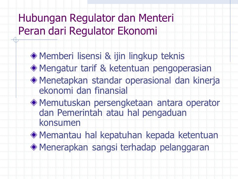 Hubungan Regulator dan Menteri Peran dari Regulator Ekonomi Memberi lisensi & ijin lingkup teknis Mengatur tarif & ketentuan pengoperasian Menetapkan