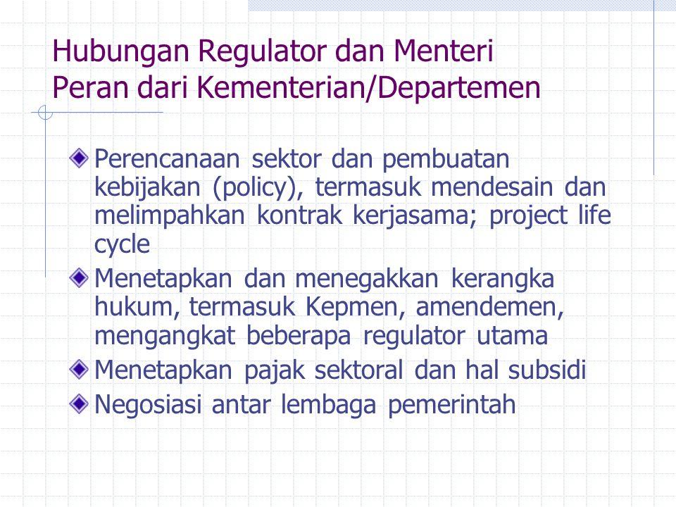 Hubungan Regulator dan Menteri Peran dari Kementerian/Departemen Perencanaan sektor dan pembuatan kebijakan (policy), termasuk mendesain dan melimpahk