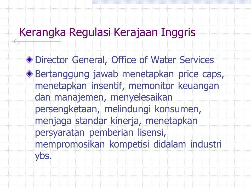 Kerangka Regulasi Kerajaan Inggris Director General, Office of Water Services Bertanggung jawab menetapkan price caps, menetapkan insentif, memonitor