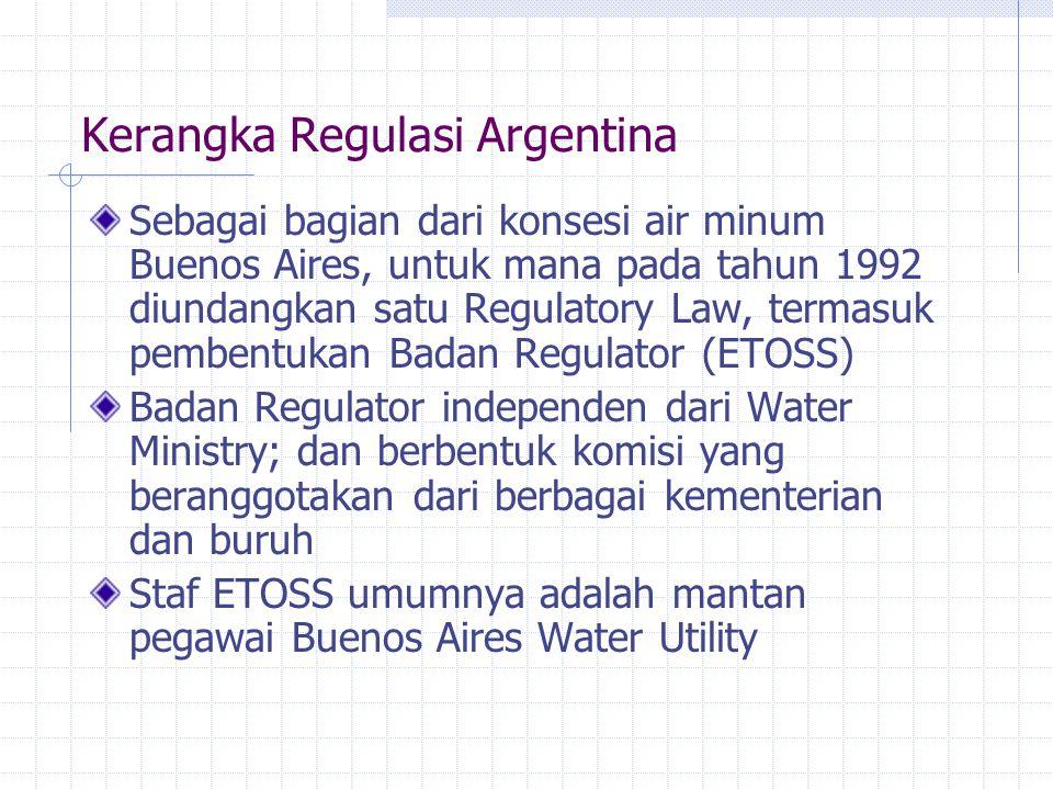 Kerangka Regulasi Argentina Sebagai bagian dari konsesi air minum Buenos Aires, untuk mana pada tahun 1992 diundangkan satu Regulatory Law, termasuk p