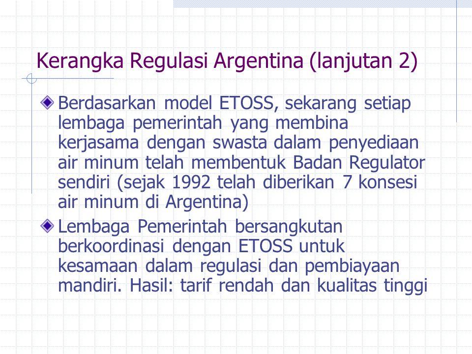 Kerangka Regulasi Argentina (lanjutan 2) Berdasarkan model ETOSS, sekarang setiap lembaga pemerintah yang membina kerjasama dengan swasta dalam penyed