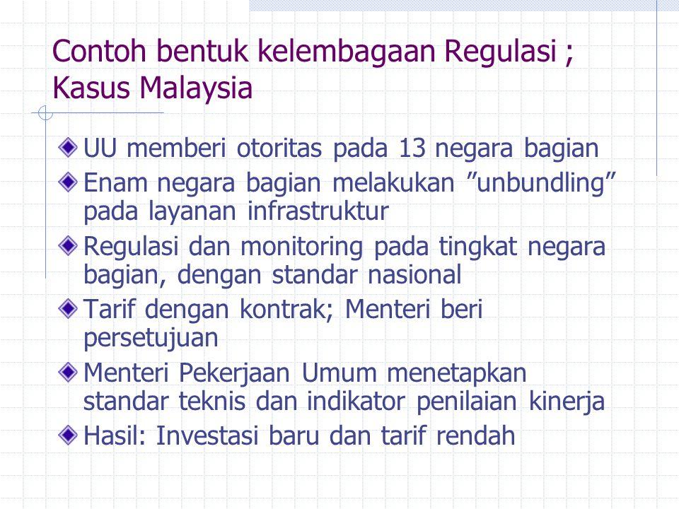 """Contoh bentuk kelembagaan Regulasi ; Kasus Malaysia UU memberi otoritas pada 13 negara bagian Enam negara bagian melakukan """"unbundling"""" pada layanan i"""