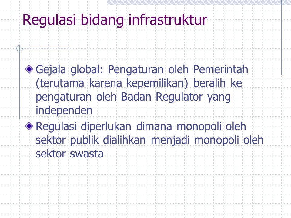 Regulasi bidang infrastruktur Gejala global: Pengaturan oleh Pemerintah (terutama karena kepemilikan) beralih ke pengaturan oleh Badan Regulator yang