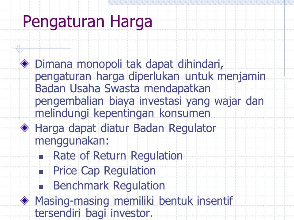 Pengaturan Harga Dimana monopoli tak dapat dihindari, pengaturan harga diperlukan untuk menjamin Badan Usaha Swasta mendapatkan pengembalian biaya inv