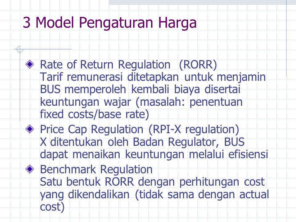 3 Model Pengaturan Harga Rate of Return Regulation (RORR) Tarif remunerasi ditetapkan untuk menjamin BUS memperoleh kembali biaya disertai keuntungan
