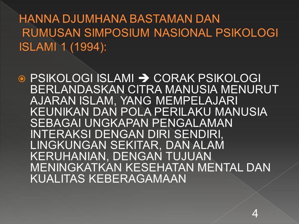  PSIKOLOGI ISLAMI  CORAK PSIKOLOGI BERLANDASKAN CITRA MANUSIA MENURUT AJARAN ISLAM, YANG MEMPELAJARI KEUNIKAN DAN POLA PERILAKU MANUSIA SEBAGAI UNGK