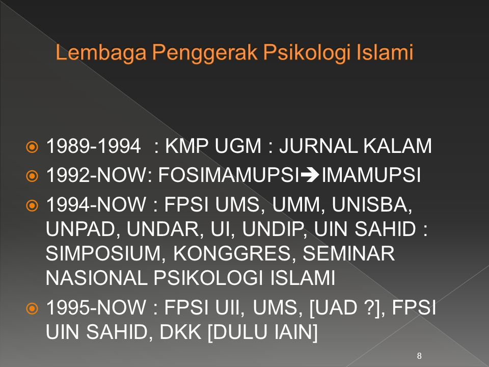  1989-1994 : KMP UGM : JURNAL KALAM  1992-NOW: FOSIMAMUPSI  IMAMUPSI  1994-NOW : FPSI UMS, UMM, UNISBA, UNPAD, UNDAR, UI, UNDIP, UIN SAHID : SIMPO