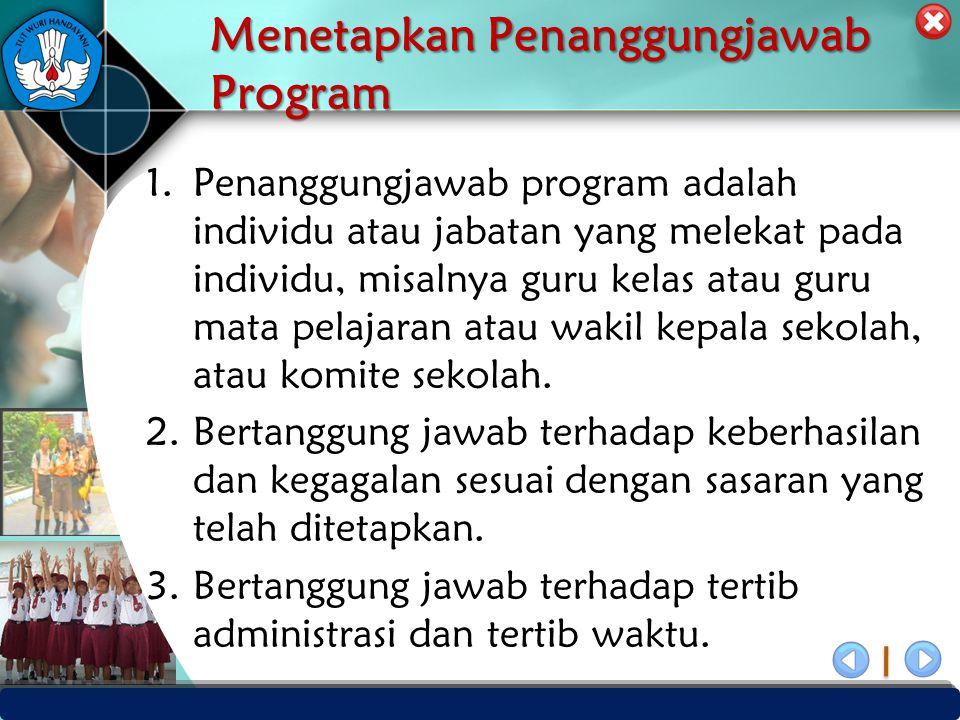 PUSAT PENJAMINAN MUTU PENDIDIKAN - BPSDMPK & PMP – KEMENDIKBUD -2012 Menetapkan Penanggungjawab Program 1.Penanggungjawab program adalah individu atau