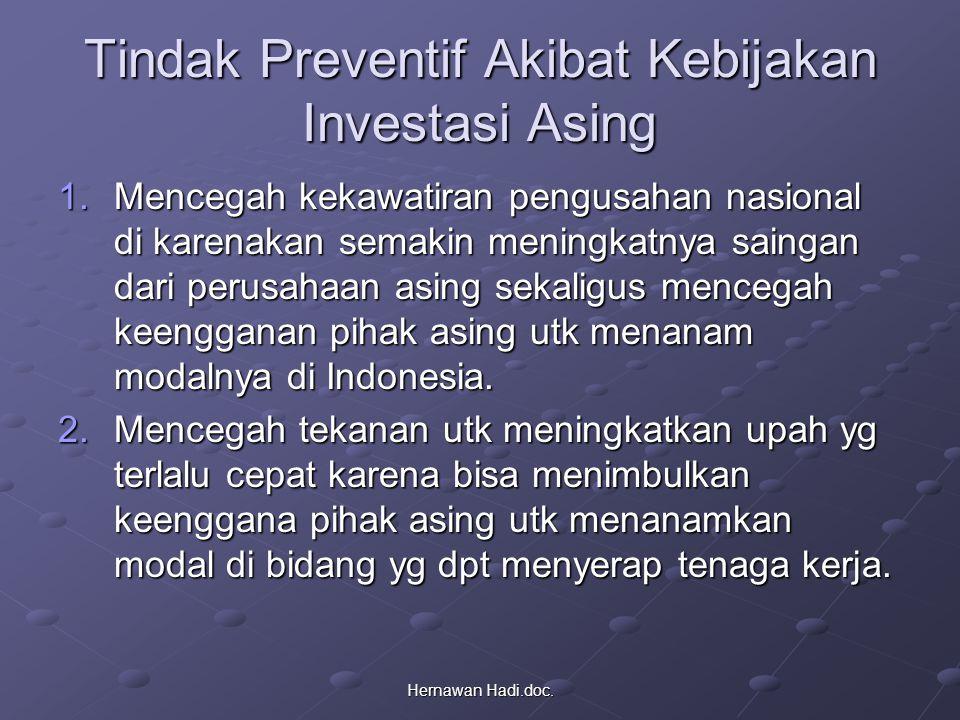 Hernawan Hadi.doc. Tindak Preventif Akibat Kebijakan Investasi Asing 1.Mencegah kekawatiran pengusahan nasional di karenakan semakin meningkatnya sain