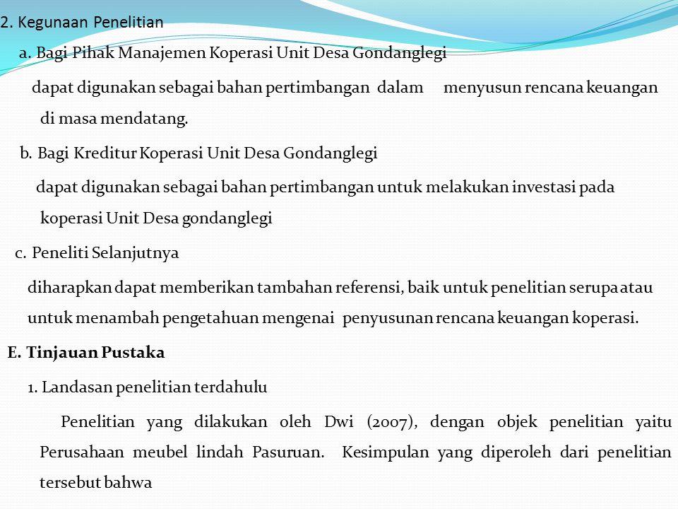 2. Kegunaan Penelitian a. Bagi Pihak Manajemen Koperasi Unit Desa Gondanglegi dapat digunakan sebagai bahan pertimbangan dalam menyusun rencana keuang