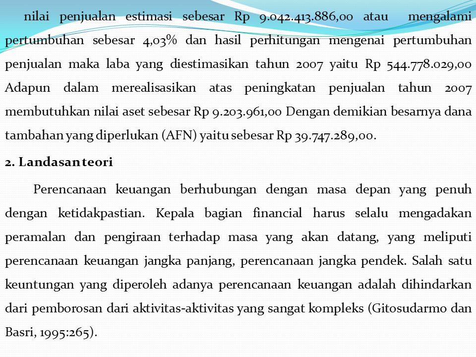 nilai penjualan estimasi sebesar Rp 9.042.413.886,00 atau mengalami pertumbuhan sebesar 4,03% dan hasil perhitungan mengenai pertumbuhan penjualan mak