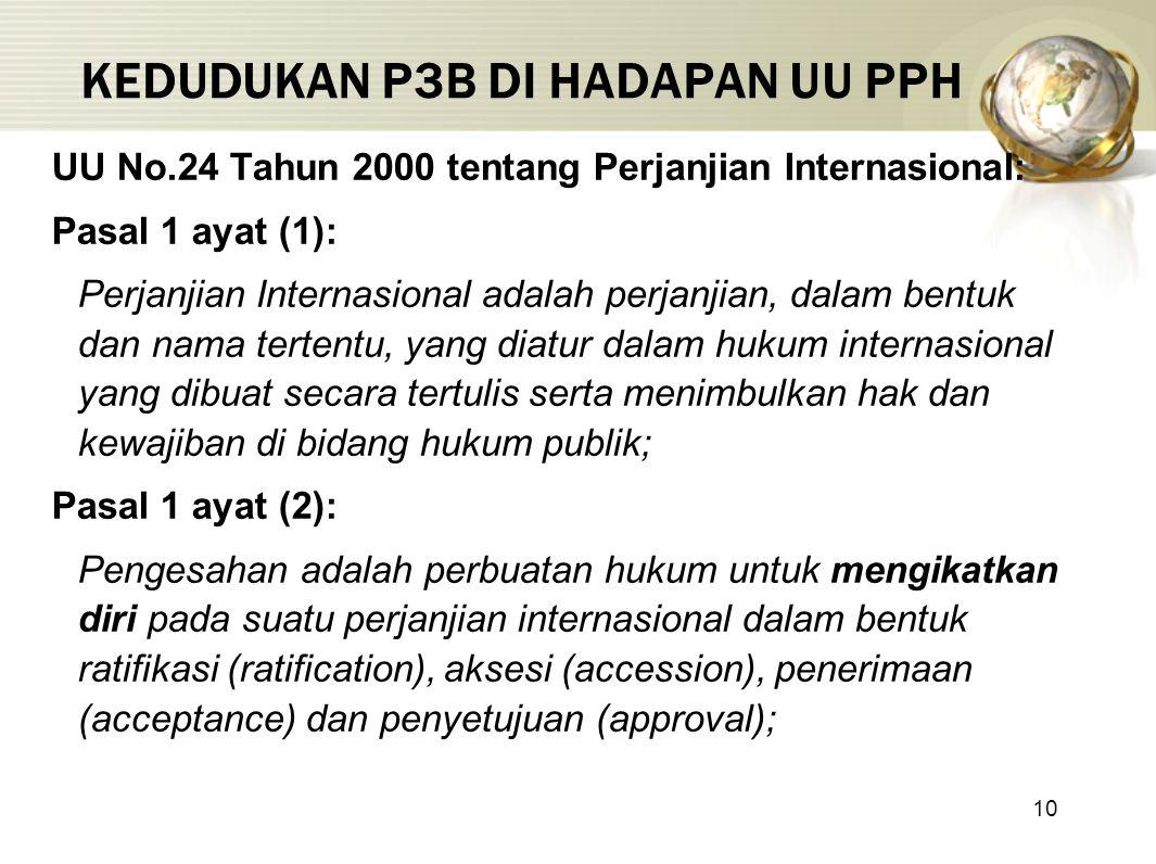 10 KEDUDUKAN P3B DI HADAPAN UU PPH UU No.24 Tahun 2000 tentang Perjanjian Internasional: Pasal 1 ayat (1): Perjanjian Internasional adalah perjanjian, dalam bentuk dan nama tertentu, yang diatur dalam hukum internasional yang dibuat secara tertulis serta menimbulkan hak dan kewajiban di bidang hukum publik; Pasal 1 ayat (2): Pengesahan adalah perbuatan hukum untuk mengikatkan diri pada suatu perjanjian internasional dalam bentuk ratifikasi (ratification), aksesi (accession), penerimaan (acceptance) dan penyetujuan (approval);