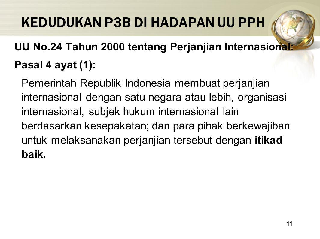 11 KEDUDUKAN P3B DI HADAPAN UU PPH UU No.24 Tahun 2000 tentang Perjanjian Internasional: Pasal 4 ayat (1): Pemerintah Republik Indonesia membuat perja
