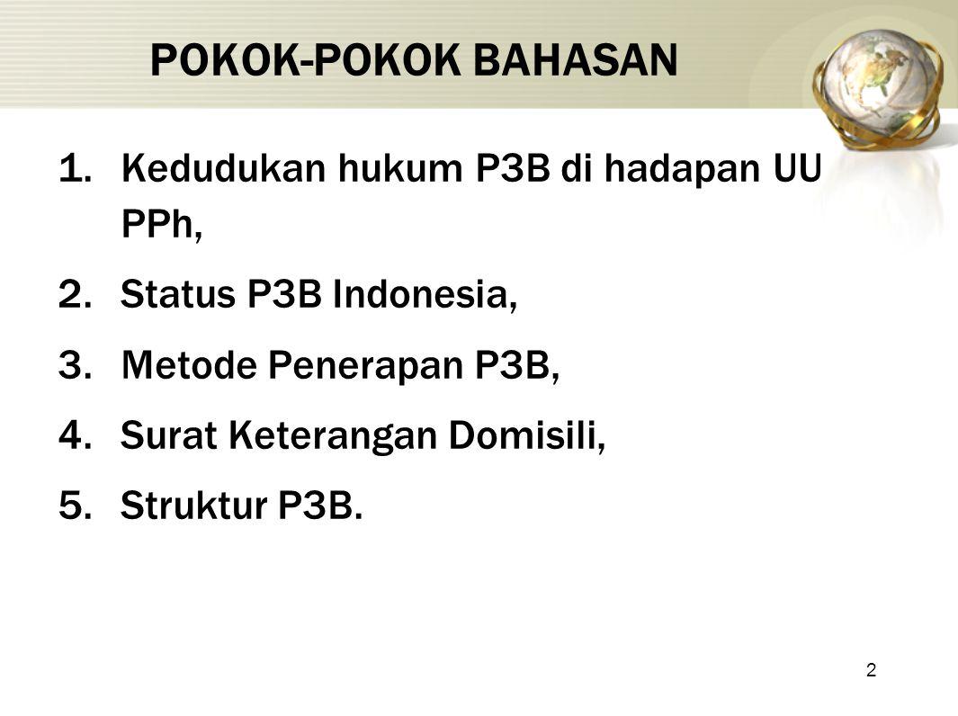2 POKOK-POKOK BAHASAN 1.Kedudukan hukum P3B di hadapan UU PPh, 2.Status P3B Indonesia, 3.Metode Penerapan P3B, 4.Surat Keterangan Domisili, 5.Struktur P3B.
