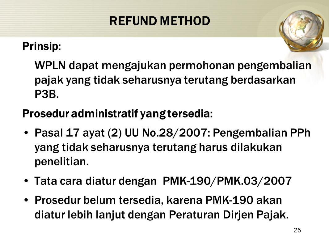 25 REFUND METHOD Prinsip: WPLN dapat mengajukan permohonan pengembalian pajak yang tidak seharusnya terutang berdasarkan P3B. Prosedur administratif y