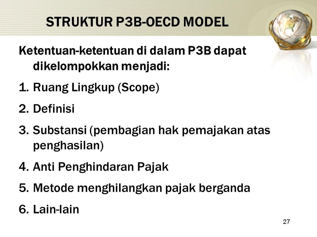 27 STRUKTUR P3B-OECD MODEL Ketentuan-ketentuan di dalam P3B dapat dikelompokkan menjadi: 1.Ruang Lingkup (Scope) 2.Definisi 3.Substansi (pembagian hak
