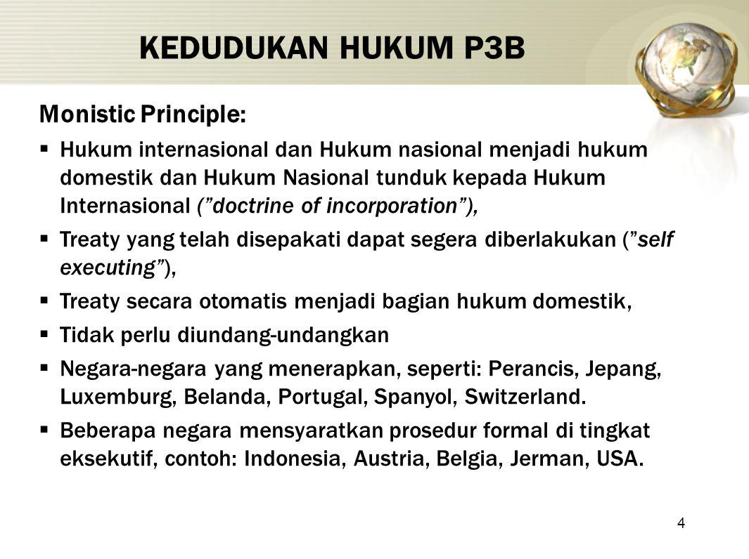 4 KEDUDUKAN HUKUM P3B Monistic Principle:  Hukum internasional dan Hukum nasional menjadi hukum domestik dan Hukum Nasional tunduk kepada Hukum Inter