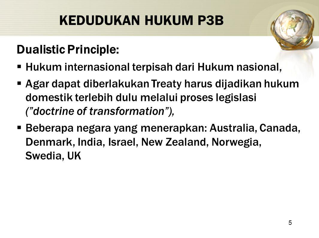 5 KEDUDUKAN HUKUM P3B Dualistic Principle:  Hukum internasional terpisah dari Hukum nasional,  Agar dapat diberlakukan Treaty harus dijadikan hukum