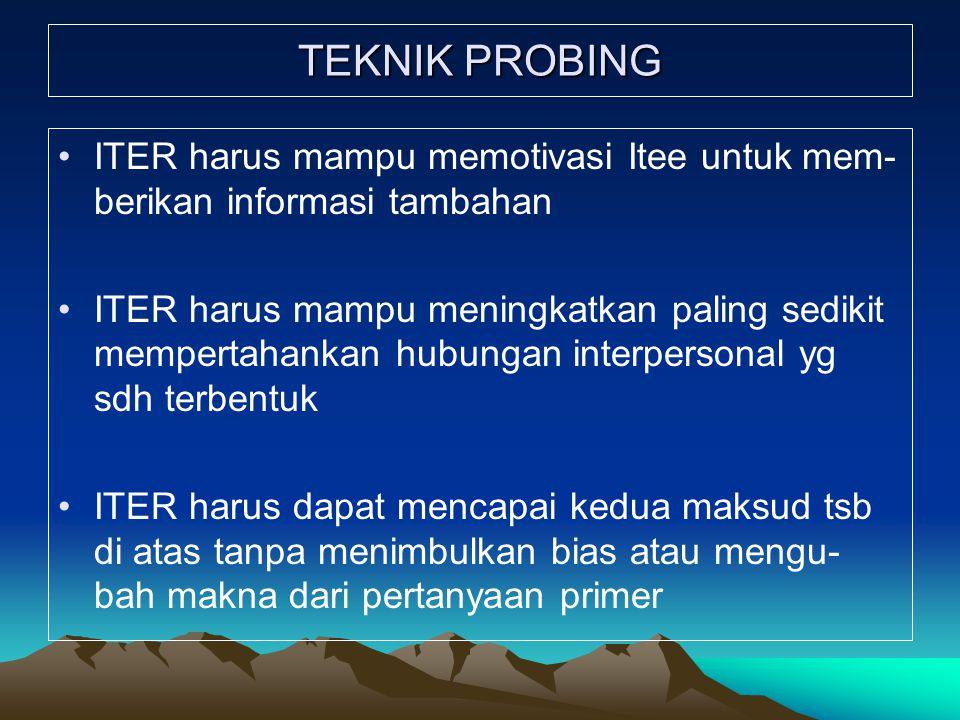 TEKNIK PROBING ITER harus mampu memotivasi Itee untuk mem- berikan informasi tambahan ITER harus mampu meningkatkan paling sedikit mempertahankan hubungan interpersonal yg sdh terbentuk ITER harus dapat mencapai kedua maksud tsb di atas tanpa menimbulkan bias atau mengu- bah makna dari pertanyaan primer
