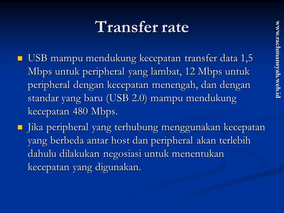 www.rachmansyah.web.id Transfer rate USB mampu mendukung kecepatan transfer data 1,5 Mbps untuk peripheral yang lambat, 12 Mbps untuk peripheral denga