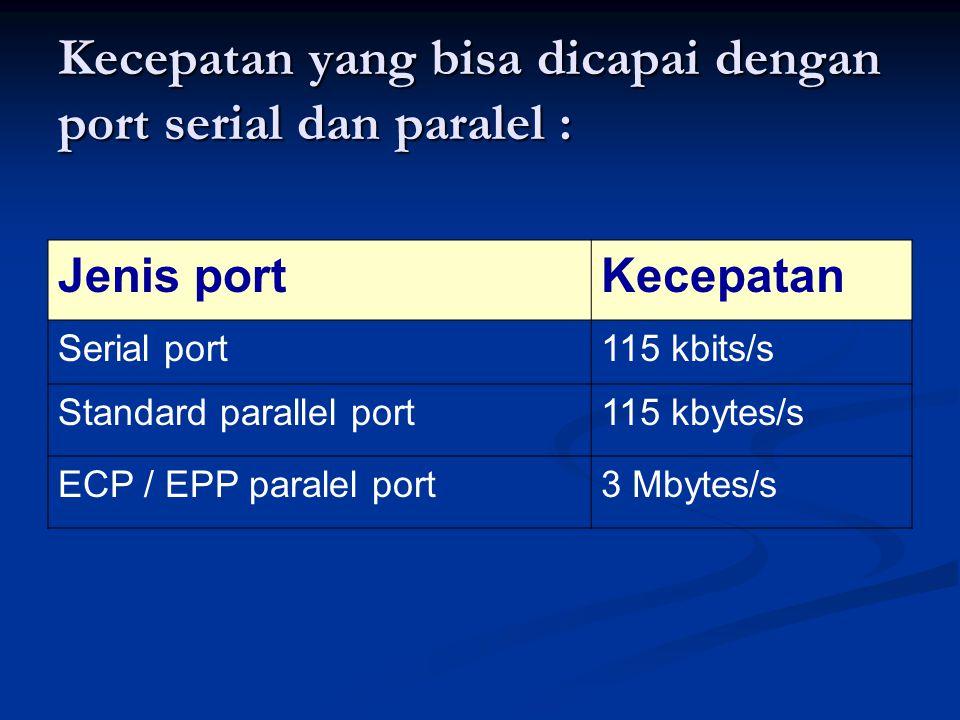 Kecepatan yang bisa dicapai dengan port serial dan paralel : Jenis portKecepatan Serial port115 kbits/s Standard parallel port115 kbytes/s ECP / EPP p