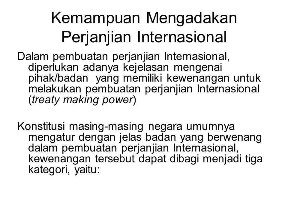 Kemampuan Mengadakan Perjanjian Internasional Dalam pembuatan perjanjian Internasional, diperlukan adanya kejelasan mengenai pihak/badan yang memiliki
