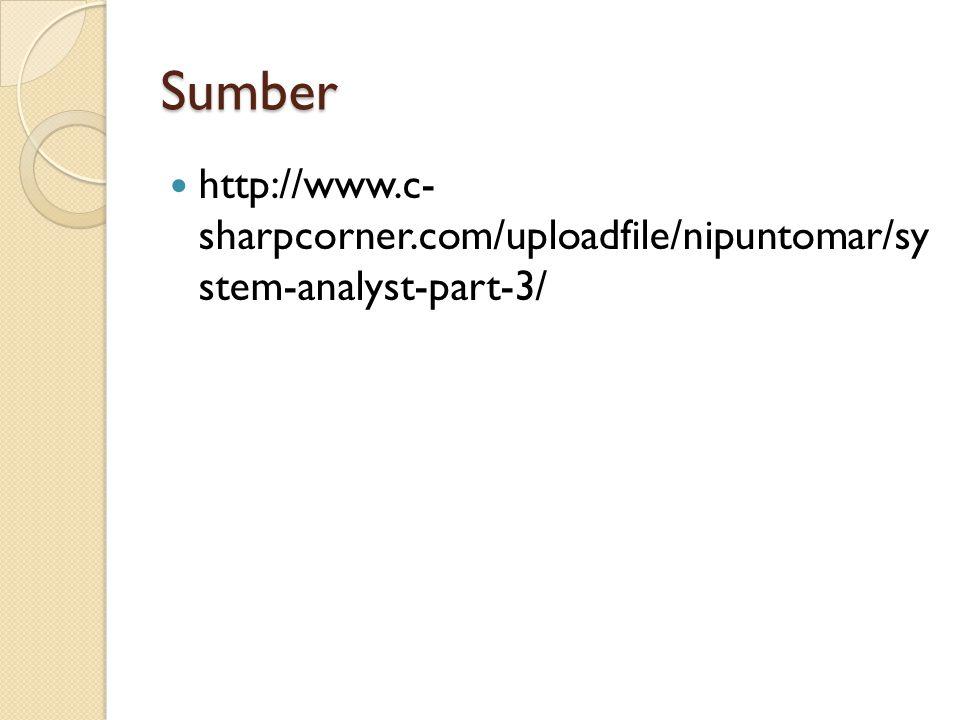 Sumber http://www.c- sharpcorner.com/uploadfile/nipuntomar/sy stem-analyst-part-3/