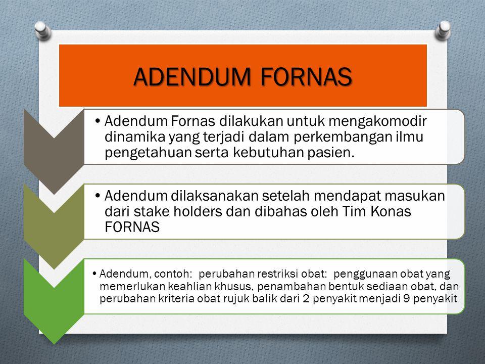 Adendum Fornas dilakukan untuk mengakomodir dinamika yang terjadi dalam perkembangan ilmu pengetahuan serta kebutuhan pasien. Adendum dilaksanakan set