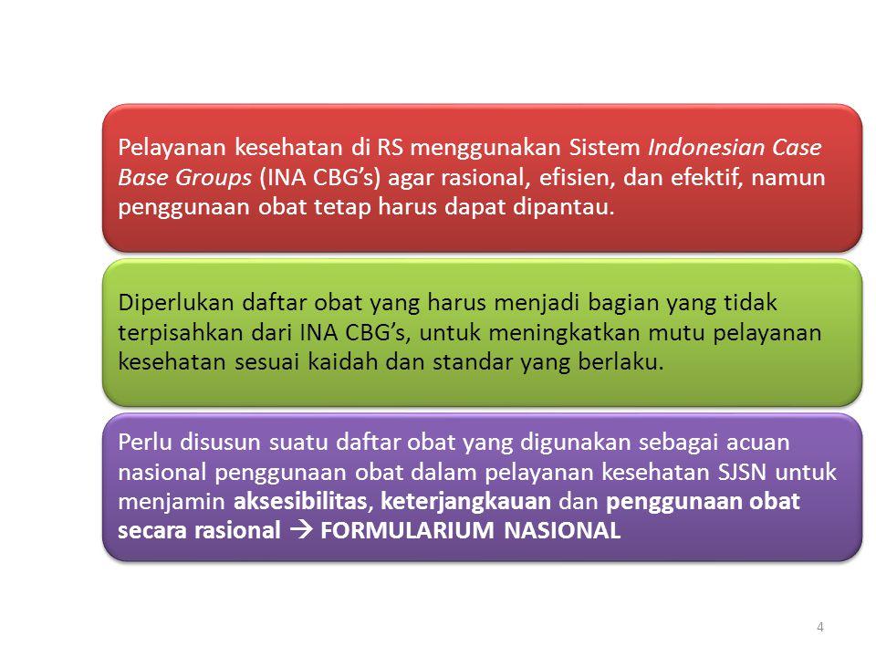 4 Pelayanan kesehatan di RS menggunakan Sistem Indonesian Case Base Groups (INA CBG's) agar rasional, efisien, dan efektif, namun penggunaan obat teta