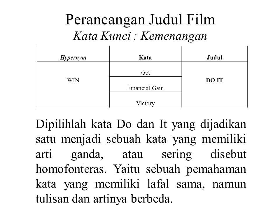 Perancangan Judul Film Kata Kunci : Kemenangan HypernymKataJudul WIN Get DO IT Financial Gain Victory Dipilihlah kata Do dan It yang dijadikan satu me