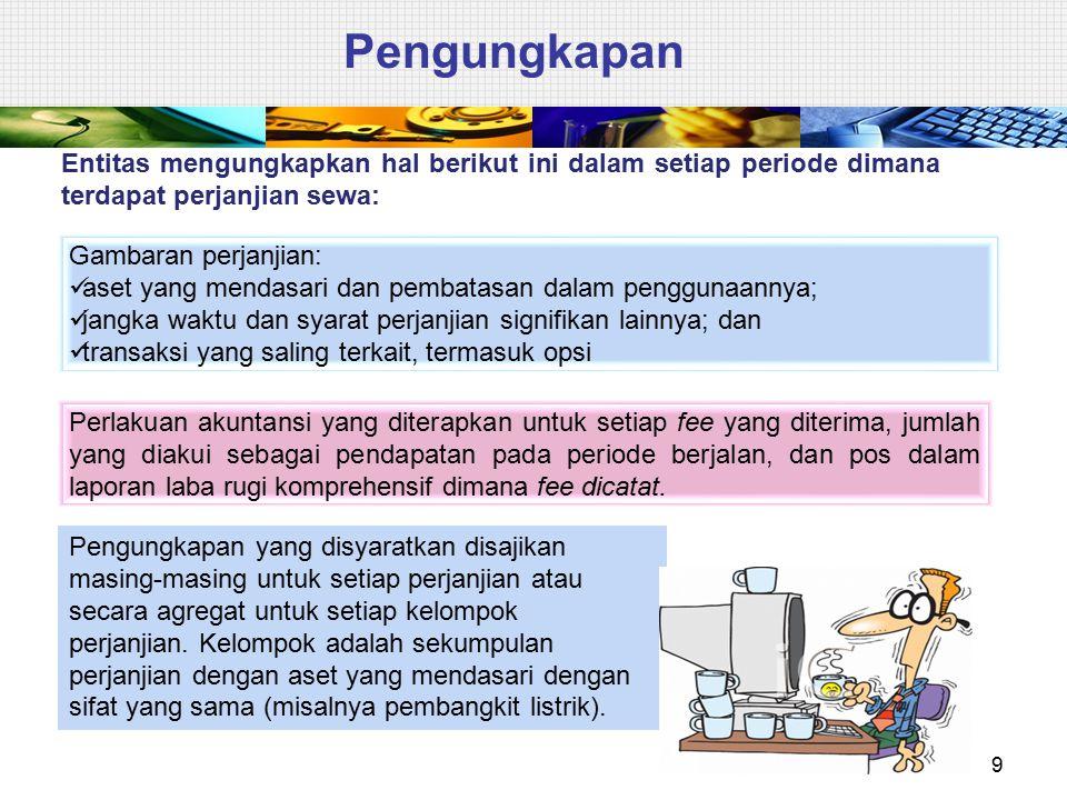 Pengungkapan 9 Entitas mengungkapkan hal berikut ini dalam setiap periode dimana terdapat perjanjian sewa: Gambaran perjanjian: aset yang mendasari da