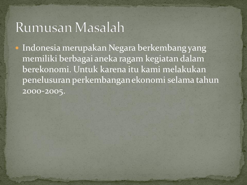 Indonesia merupakan Negara berkembang yang memiliki berbagai aneka ragam kegiatan dalam berekonomi. Untuk karena itu kami melakukan penelusuran perkem