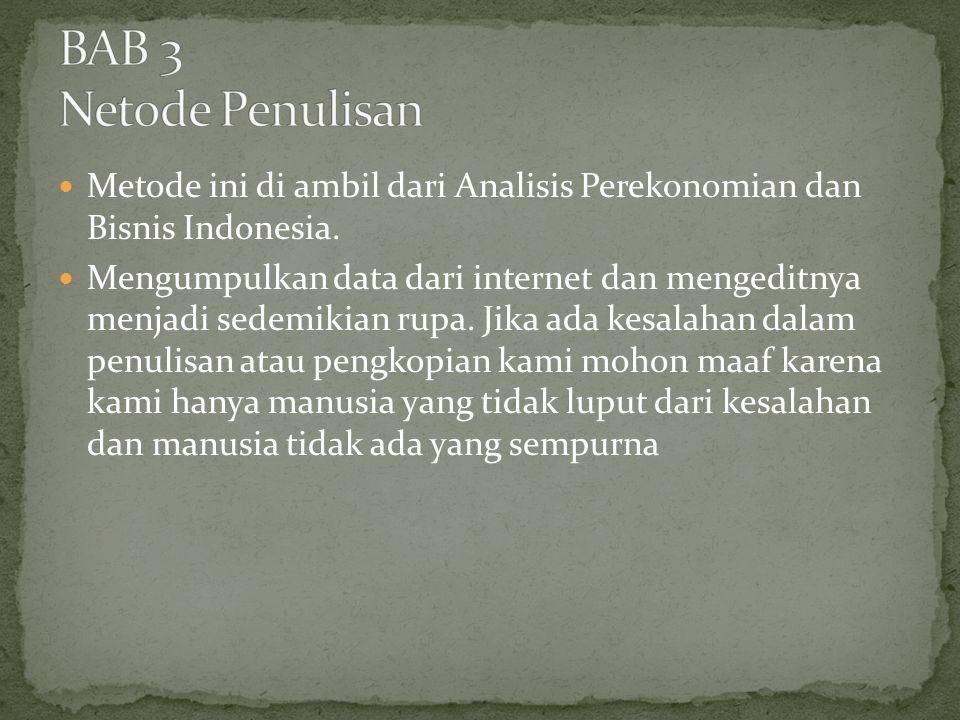 Metode ini di ambil dari Analisis Perekonomian dan Bisnis Indonesia. Mengumpulkan data dari internet dan mengeditnya menjadi sedemikian rupa. Jika ada