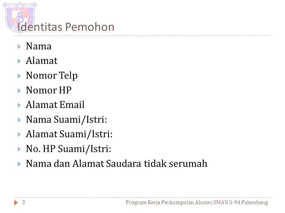 DAFTAR ISI Program Kerja Perkumpulan Alumni SMAN 5-94 Palembang2  Identitas Pemohon  Latar Belakang Pengajuan  Jenis usaha yang Diajukan  Alasan J