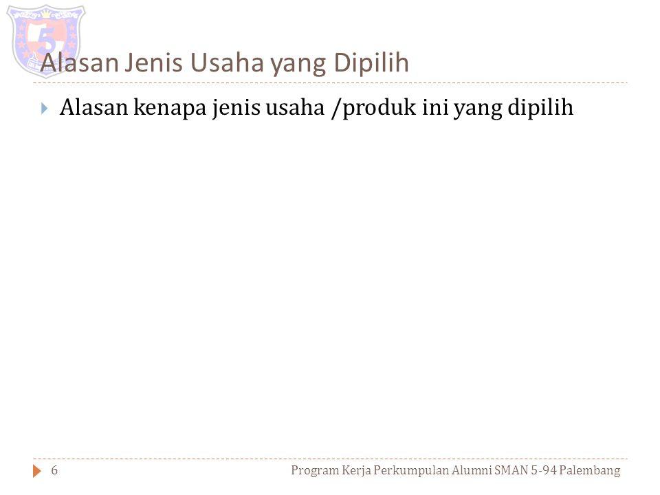 Jenis usaha yang Diajukan Program Kerja Perkumpulan Alumni SMAN 5-94 Palembang5