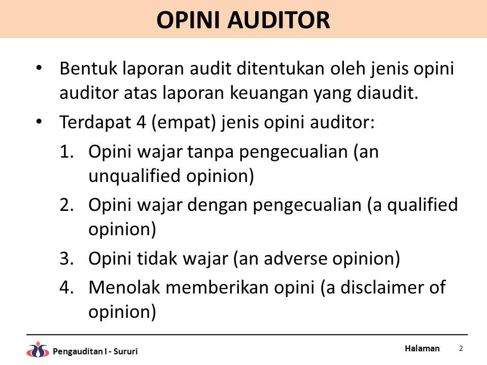 Halaman Pengauditan I - Sururi OPINI AUDITOR Bentuk laporan audit ditentukan oleh jenis opini auditor atas laporan keuangan yang diaudit. Terdapat 4 (