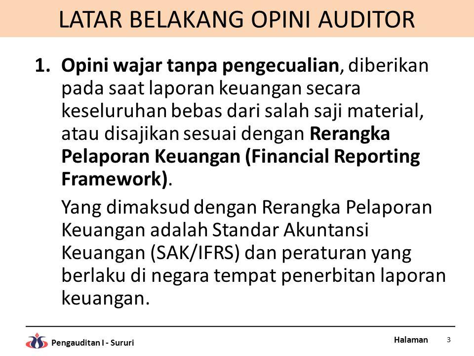 Halaman Pengauditan I - Sururi LATAR BELAKANG OPINI AUDITOR 1.Opini wajar tanpa pengecualian, diberikan pada saat laporan keuangan secara keseluruhan