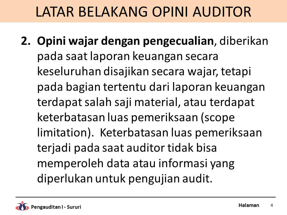 Halaman Pengauditan I - Sururi LATAR BELAKANG OPINI AUDITOR 2.Opini wajar dengan pengecualian, diberikan pada saat laporan keuangan secara keseluruhan