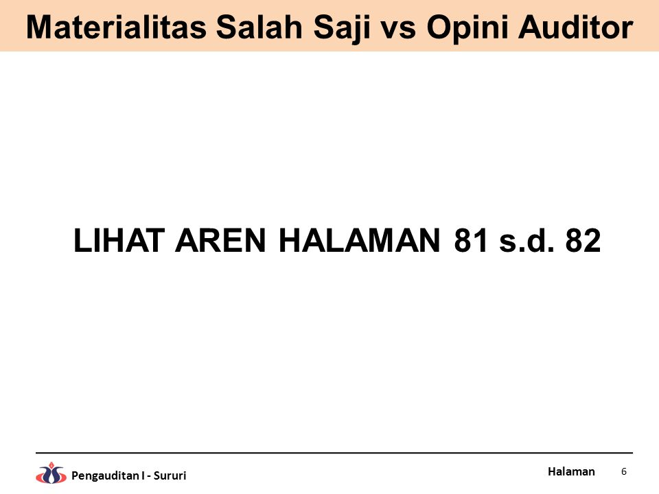 Halaman Pengauditan I - Sururi Materialitas Salah Saji vs Opini Auditor LIHAT AREN HALAMAN 81 s.d. 82 6